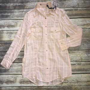 Chelsea & Violet Sheer Long Sleeve Blouse Small
